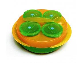 dBb Remond dBb Baby Snack, sada 4 misek, talíř, lžíce Barva: Oranžovo/Zelená