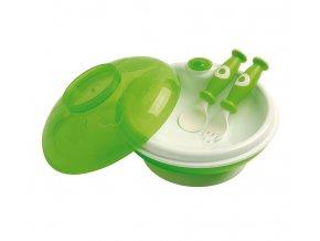 dBb Remond dBb Dětský ohřívací talíř s víkem a lžící s vidličkou Barva: Zelená