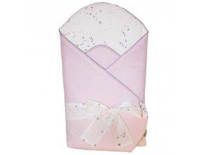 Zavinovačka bavlněná s potiskem a kokosovým vnitřkem Light Pink 75x75cm
