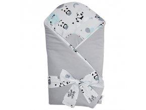 EKO Zavinovačka bavlněná VELVET Panda Grey 75x75cm