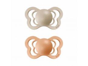 BIBS Couture ortodontický cumlík z prírodného kaučuku 2ks - veľkosť 2 Vanilla / Peach