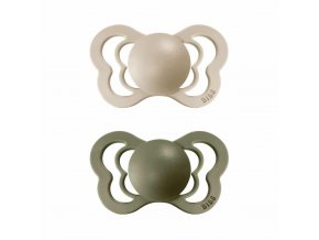 BIBS Couture ortodontický cumlík z prírodného kaučuku 2ks - veľkosť 2 Vanilla / Olive