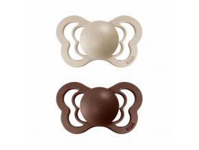 BIBS Couture ortodontický cumlík z prírodného kaučuku 2ks - veľkosť 2 Vanilla / Mocha