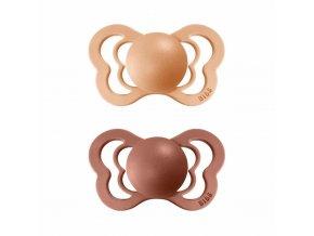 BIBS Couture ortodontický cumlík z prírodného kaučuku 2ks - veľkosť 2 Peach/Woodchuck