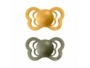 BIBS Couture ortodontický cumlík z prírodného kaučuku 2ks - veľkosť 2 Honey Bee / Olive