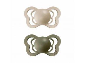 BIBS Couture ortodontický cumlík z prírodného kaučuku 2ks - veľkosť 1 Vanilla / Olive