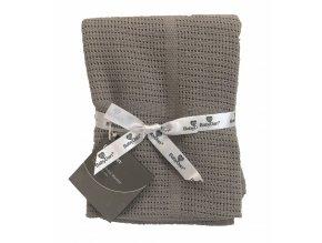 Baby Dan Dětská háčkovaná bavlněná deka Babydan Grey,75x100cm