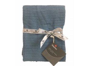 Baby Dan Dětská háčkovaná bavlněná deka Babydan Dusty Blue,75x100cm