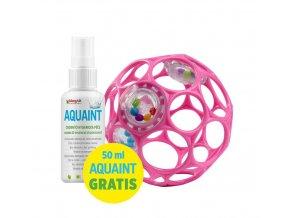 OBALL Hračka Oball RATTLE 10 cm 0m+ dark pink + 50 ml Aquaint