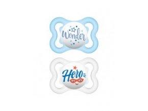 MAM Dudlík Air Mini Happy Thoughts 0-6 m silikonový modrý