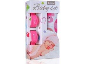 T-TOMI Baby set - osuška bambusová + kolíčky na kočárek, růžová/sloni