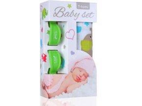 T-TOMI Baby set - osuška bambusová + kolíčky na kočárek, zelená/sloni