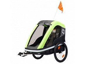 HAMAX Avenida Twin - dvoumístný vozík za kolo vč. ramena + kočárkový set Lime, odpružený