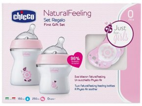 CHICCO Dárkový set Natural Feeling + Air dudlík - dívka