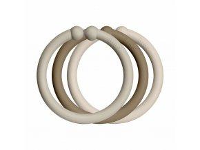 BIBS Loops krúžky 12ks Sand / Dark Oak / Vanilla