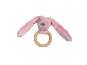 Happy Horse Králíček Old pink Richie s dřevěným kroužkem