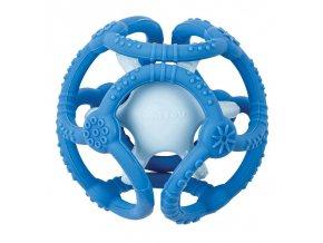 NATTOU Kousátko silikonové míč 2v1 bez BPA 10 cm modrá