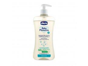 CHICCO Šampon jemný na vlasy a tělo s dávkovačem Baby Moments 92 % přírodních složek 500 ml