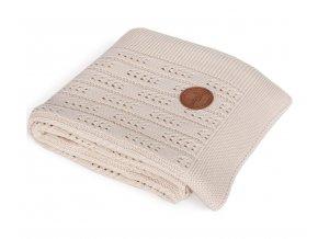 CEBA Deka pletená v dárkovém balení 90 x 90 béžová rybí kost