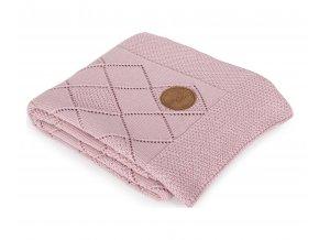 CEBA Deka pletená v dárkovém balení 90 x 90 rýžový vzor růžová