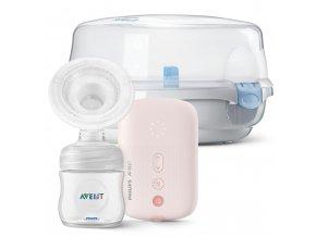 Philips AVENT Odsávačka mateřského mléka elektronická SCF395 + Sterilizator do mikrovlnné trouby