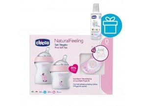 CHICCO Set dárkový Natural Feeling+Air dudlík/dívka + CHICCO Roztok dezinf. víceúčelový 1l