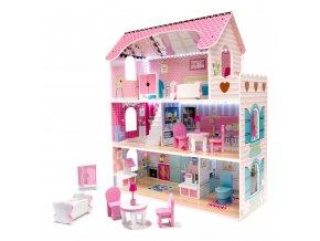 Domeček pro panenky MDF s nábytkem 70 cm růžová LED