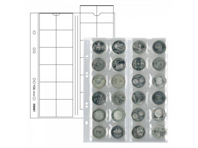 Listy na mince - pro 24 mincí o průměru 34mm