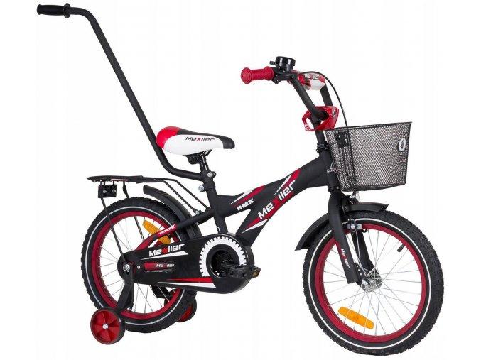 """Detský bicykel Mexller BMX s vodiacou tyčou čierno-červený 16"""""""
