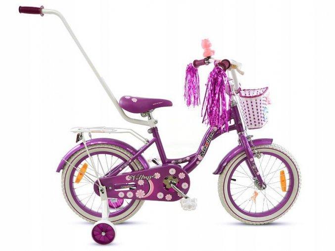 """Detský bicykel Mexller Village s vodiacou tyčou fialový 16"""""""