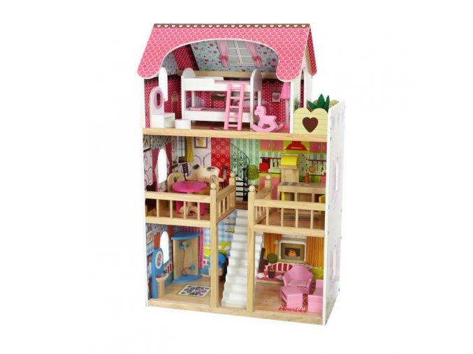 Ecotoys drevený dvojposchodový domček pre bábiky Malinová
