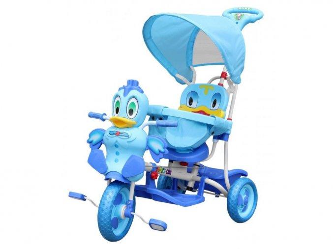 Detská trojkolka s vodiacou tyčou Kačička modrá