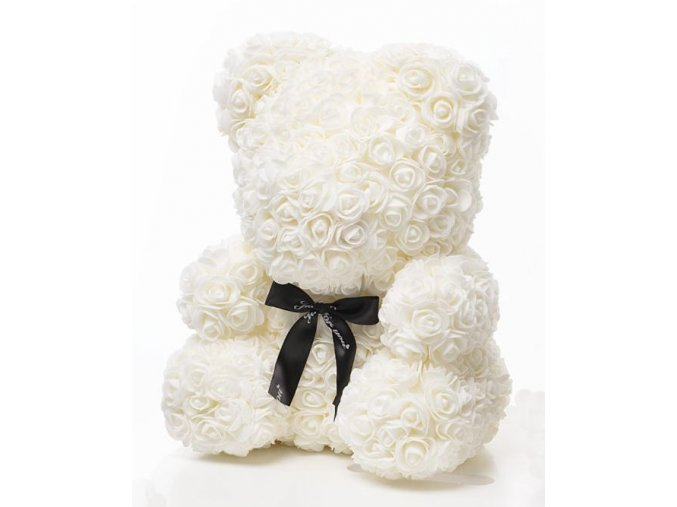Medvedík z ruží biely Rose Bear 40 cm