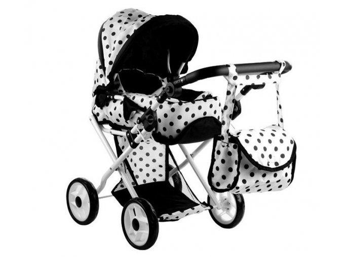 Alice kočík pre bábiky 9346 kombinovaný čierno-biely