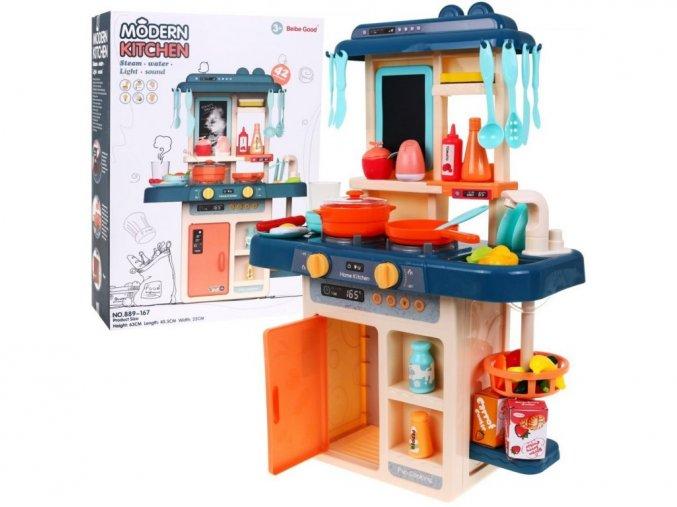 Majlo Toys detská kuchynka so zvukmi a parou Little Chef - modrá