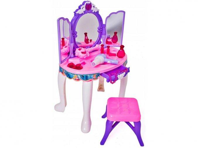 Doris detský toaletný stolček Magické zrkadlo fialový