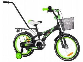 """Detský bicykel Mexller BMX s vodiacou tyčou čierno-zelený 16"""""""