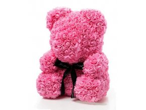 Medvedík z ruží ružový Rose Bear 40 cm