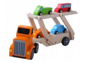 Ecotoys drevené autíčko Odťahovka + 4 autíčka