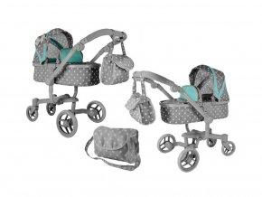 Alice veľký kočík pre bábiky Moderno 5294 sivo-mentolový