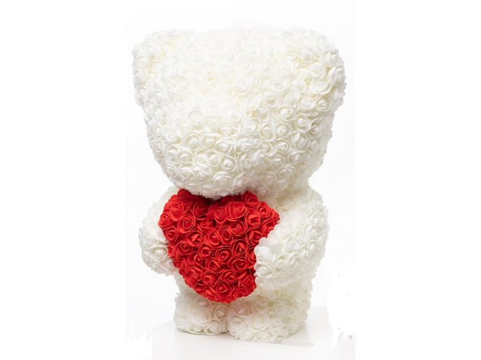 medved z ruzi bily se srdcem 60 cm