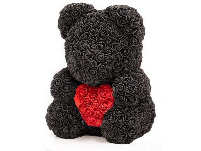 medved z ruzi cerny s cervenym srdcem 40 cm