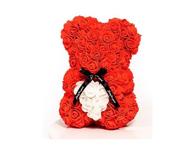 medved z ruzi cerveny s bilym srdcem 25 cm
