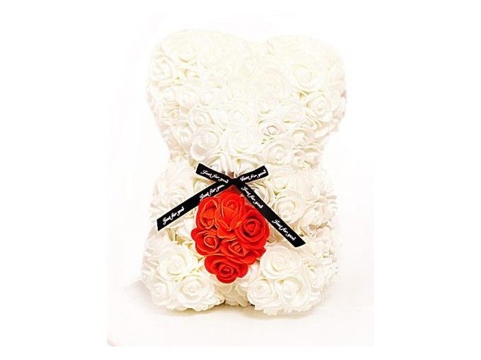 medved z ruzi bily cervenym srdcem 25 cm