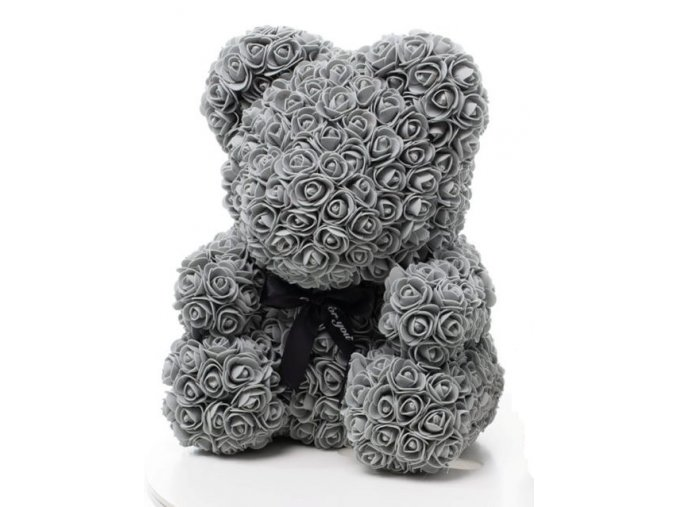 medved z ruzi sedy 40 cm
