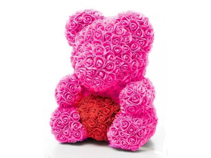 medved z ruzi ruzovy s cervenym srdcem 40 cm