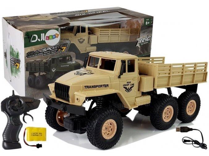 auto na dalkove ovladani Army Truck hnede