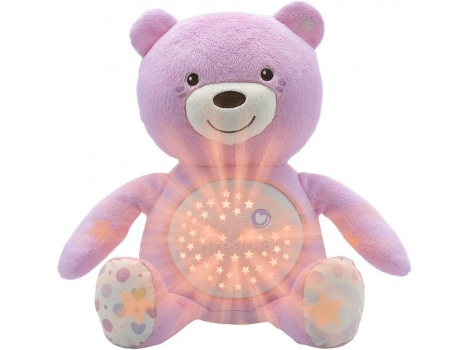Chicco medvídek s projektorem růžový