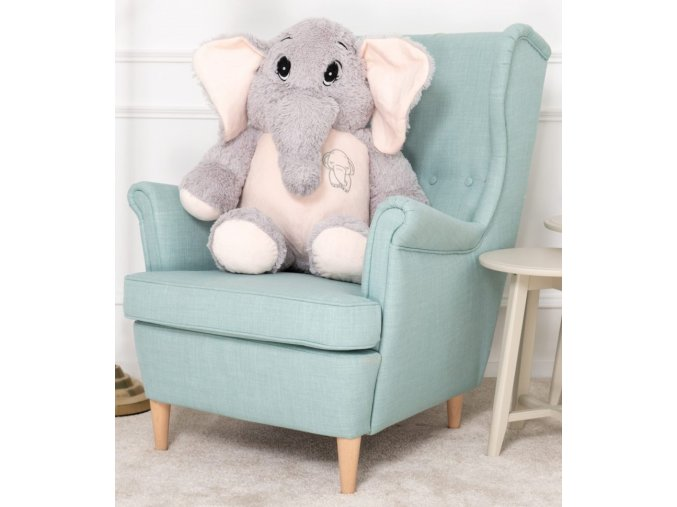 plysovy slon Belly sedo ruzovy 90 cm