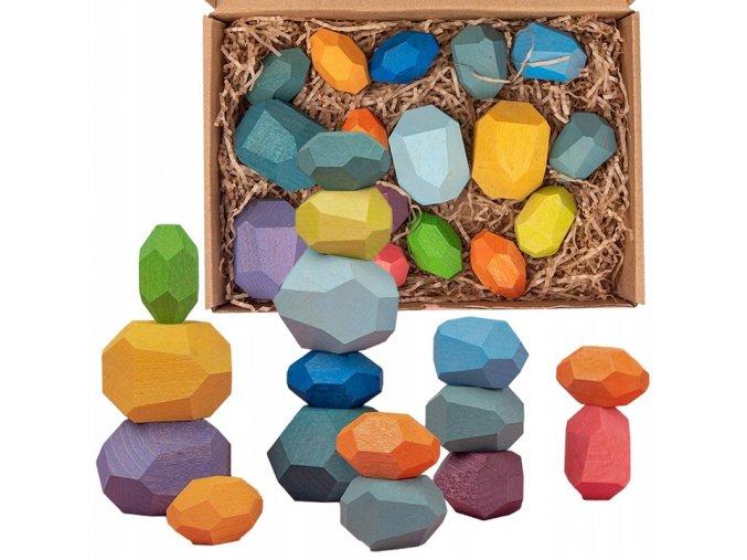 drevene kostky kameny Doris 16 kusů